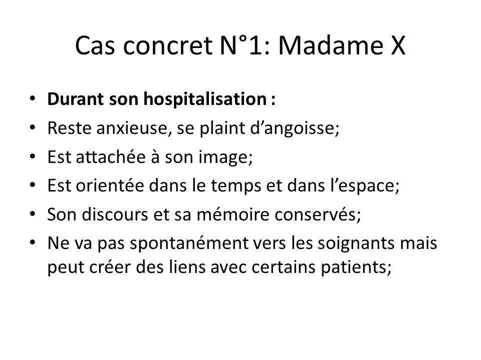 Cas concret N°1: Madame X Durant son hospitalisation : Reste anxieuse, se plaint d'angoisse; Est attachée à son image; Est orientée dans le temps et d