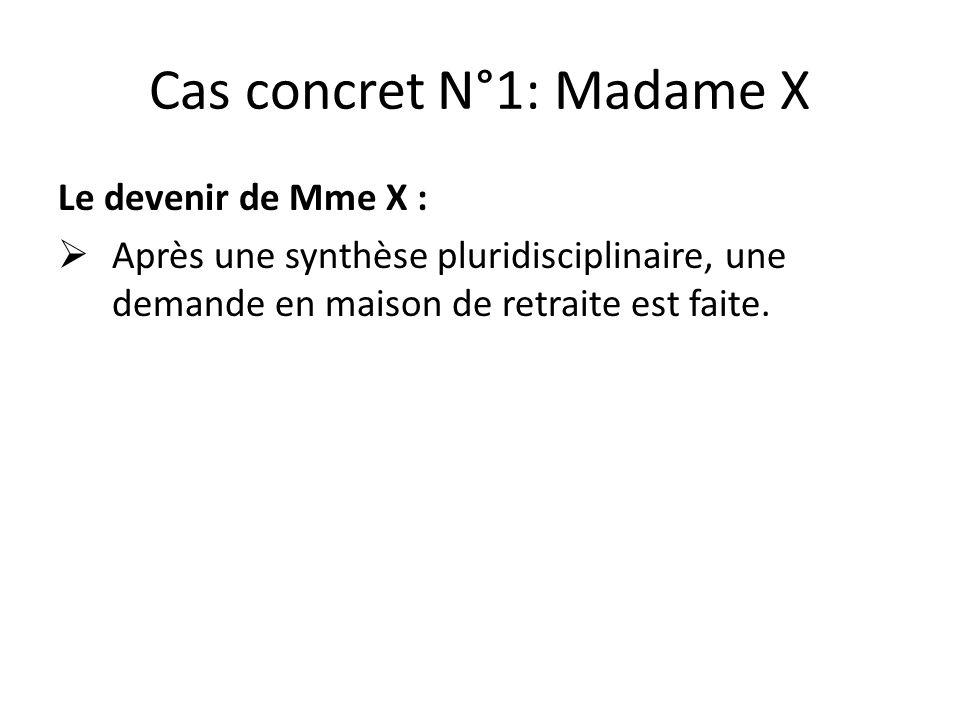 Cas concret N°1: Madame X Le devenir de Mme X :  Après une synthèse pluridisciplinaire, une demande en maison de retraite est faite.