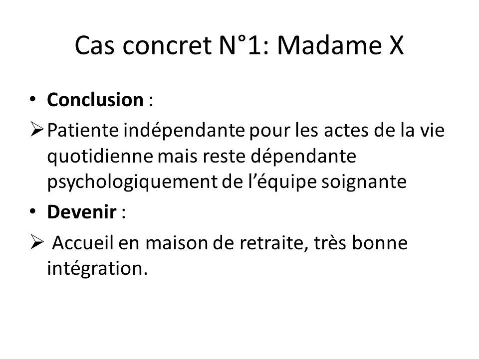 Cas concret N°1: Madame X Conclusion :  Patiente indépendante pour les actes de la vie quotidienne mais reste dépendante psychologiquement de l'équip