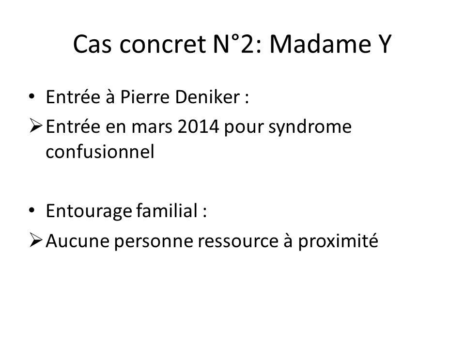 Cas concret N°2: Madame Y Entrée à Pierre Deniker :  Entrée en mars 2014 pour syndrome confusionnel Entourage familial :  Aucune personne ressource
