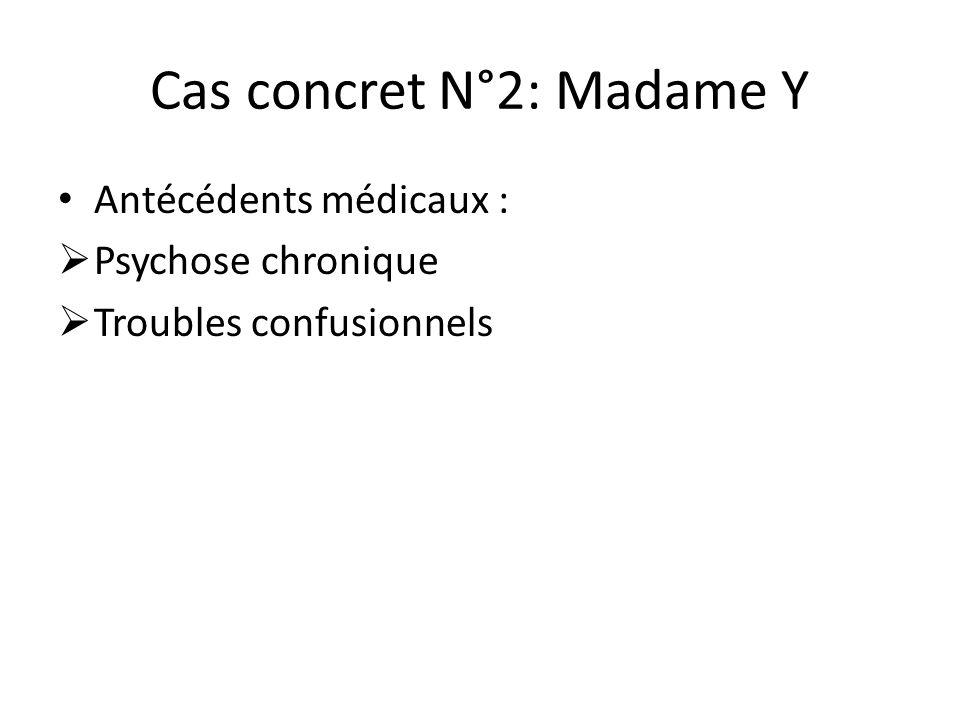 Cas concret N°2: Madame Y Antécédents médicaux :  Psychose chronique  Troubles confusionnels
