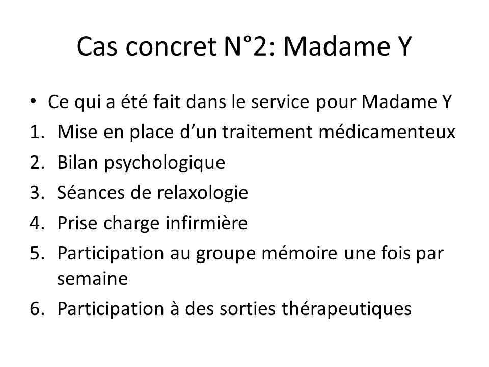 Cas concret N°2: Madame Y Ce qui a été fait dans le service pour Madame Y 1.Mise en place d'un traitement médicamenteux 2.Bilan psychologique 3.Séance