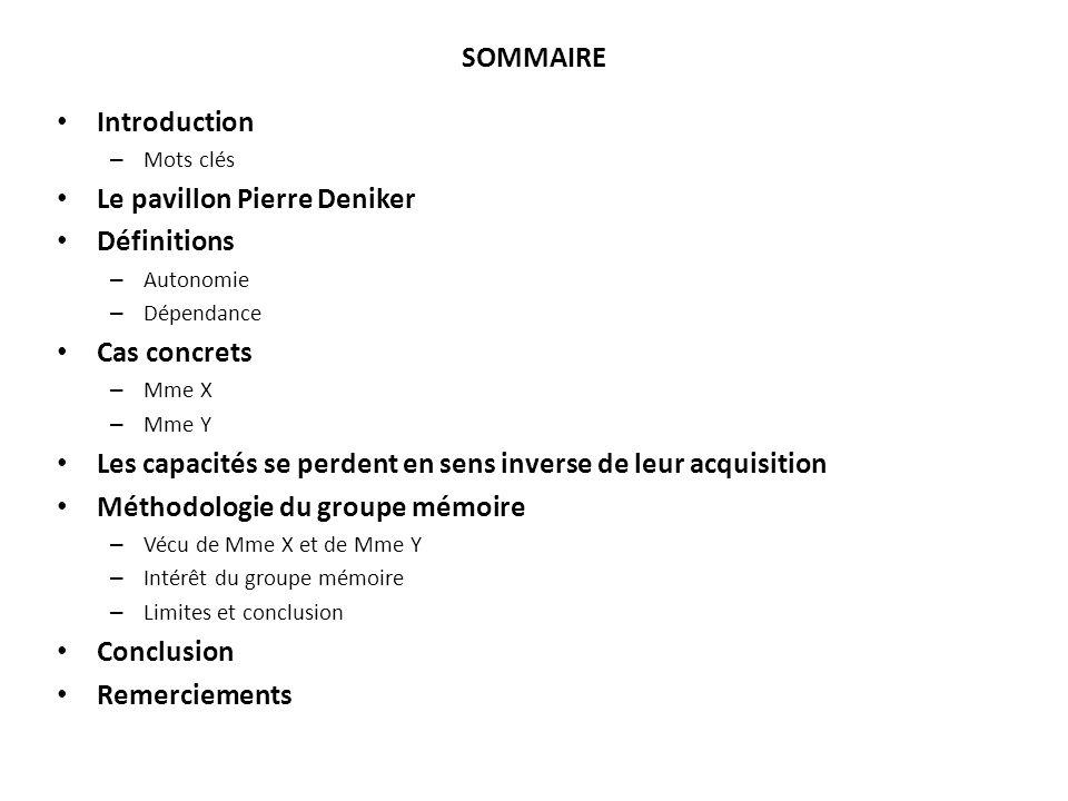 SOMMAIRE Introduction – Mots clés Le pavillon Pierre Deniker Définitions – Autonomie – Dépendance Cas concrets – Mme X – Mme Y Les capacités se perden