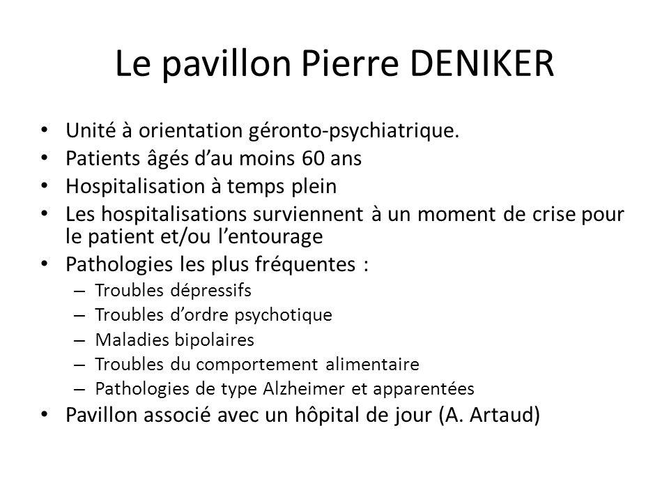 Le pavillon Pierre DENIKER Unité à orientation géronto-psychiatrique. Patients âgés d'au moins 60 ans Hospitalisation à temps plein Les hospitalisatio