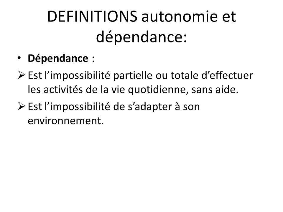 DEFINITIONS autonomie et dépendance: Dépendance :  Est l'impossibilité partielle ou totale d'effectuer les activités de la vie quotidienne, sans aide