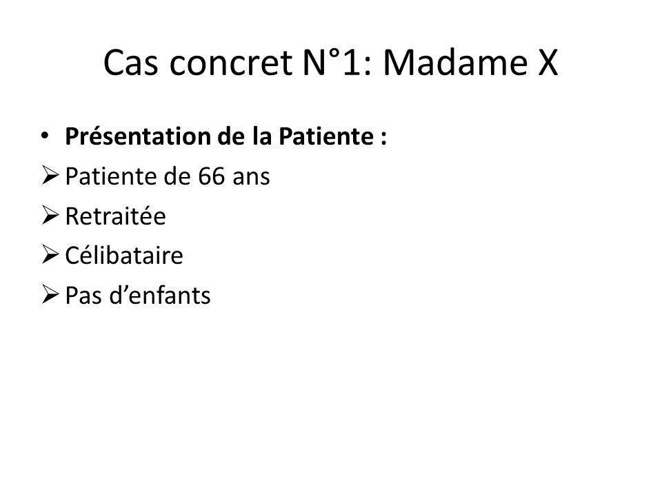 Cas concret N°1: Madame X Présentation de la Patiente :  Patiente de 66 ans  Retraitée  Célibataire  Pas d'enfants