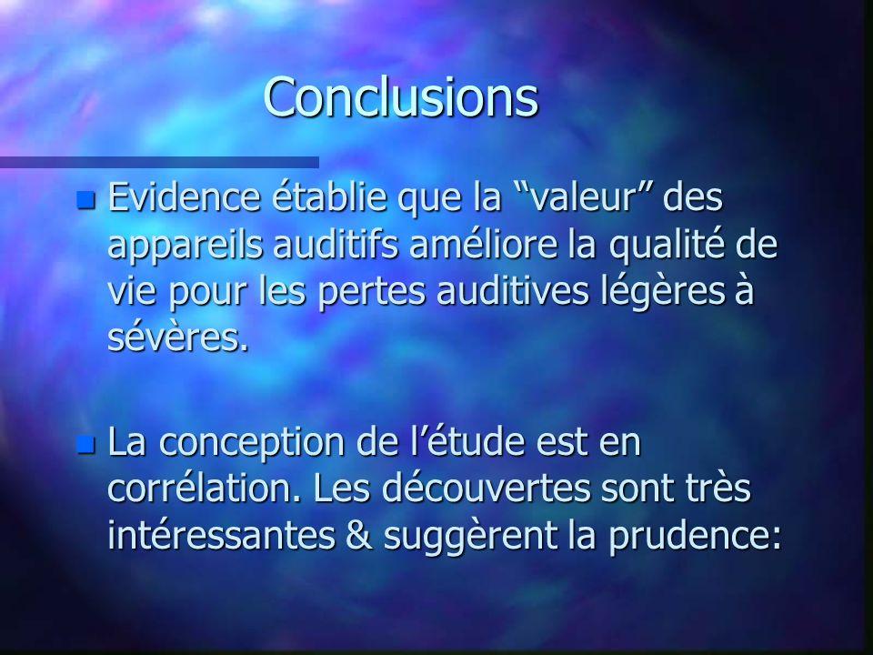 Conclusions n Evidence établie que la valeur des appareils auditifs améliore la qualité de vie pour les pertes auditives légères à sévères.