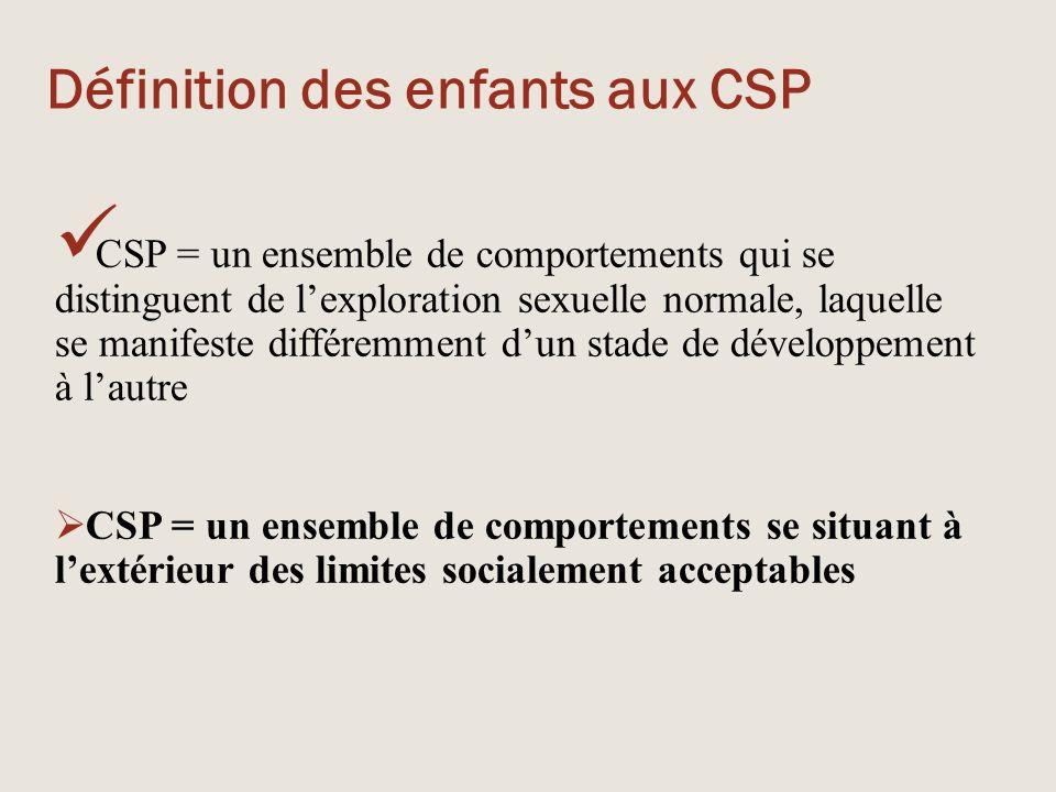 Définition des enfants aux CSP CSP = un ensemble de comportements qui se distinguent de l'exploration sexuelle normale, laquelle se manifeste différem
