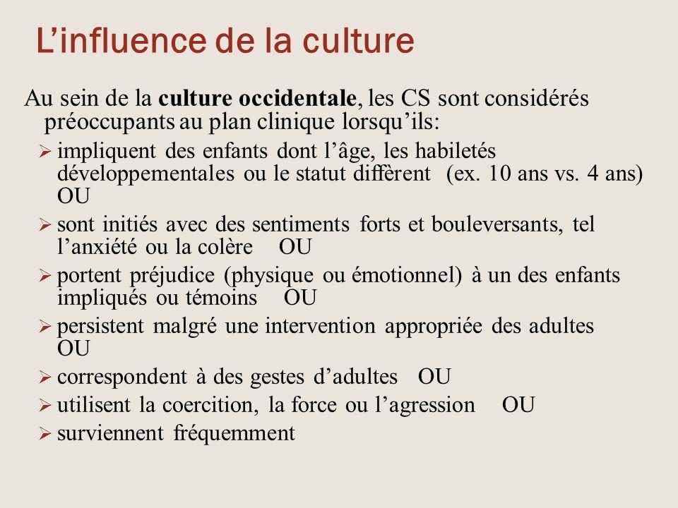 L'influence de la culture Au sein de la culture occidentale, les CS sont considérés préoccupants au plan clinique lorsqu'ils:  impliquent des enfants