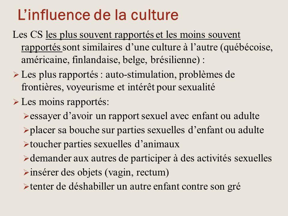 L'influence de la culture Les CS les plus souvent rapportés et les moins souvent rapportés sont similaires d'une culture à l'autre (québécoise, améric