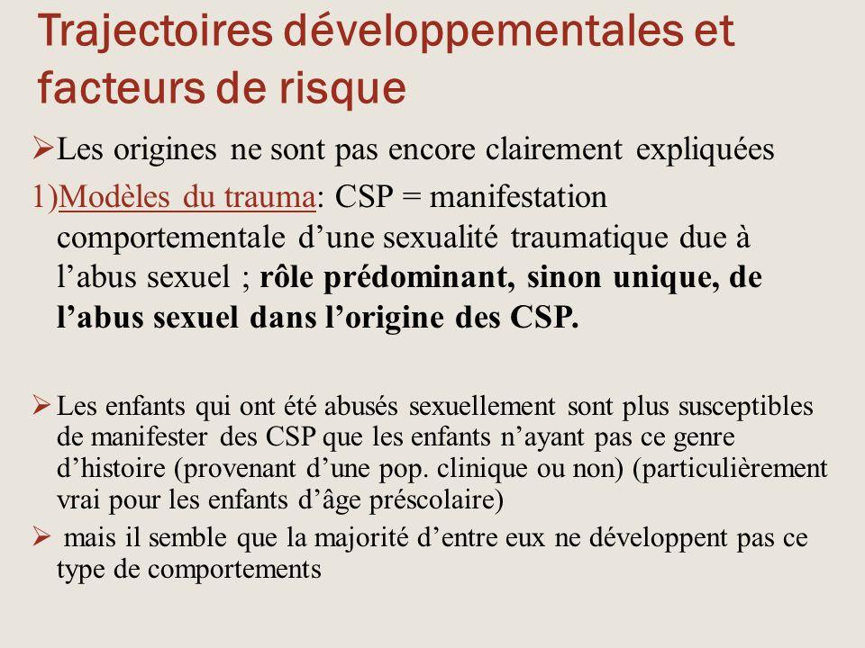 Trajectoires développementales et facteurs de risque  Les origines ne sont pas encore clairement expliquées 1)Modèles du trauma: CSP = manifestation