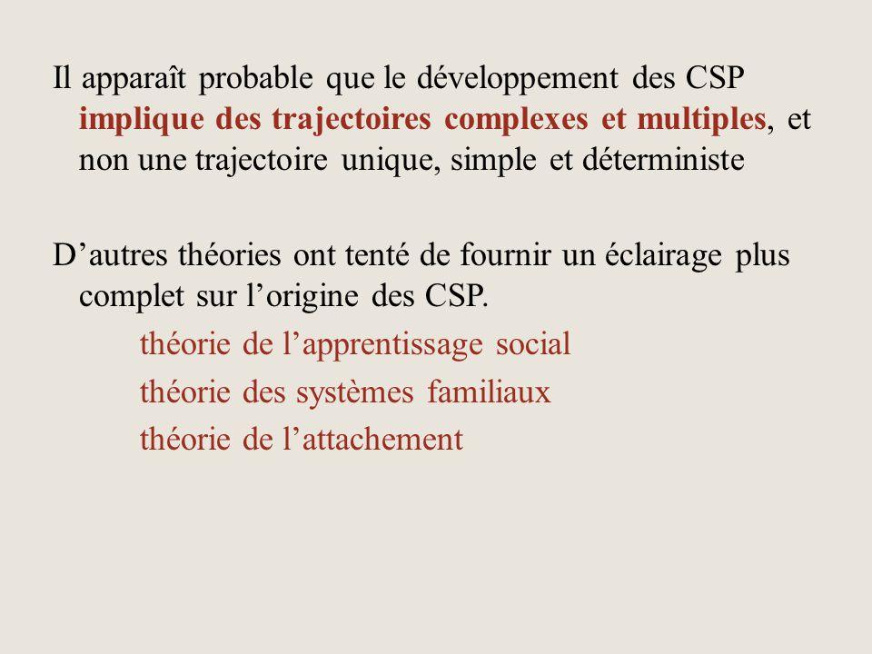 Il apparaît probable que le développement des CSP implique des trajectoires complexes et multiples, et non une trajectoire unique, simple et détermini