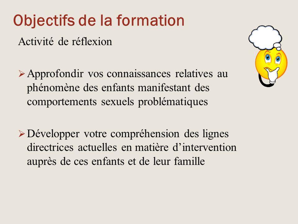 Objectifs de la formation Activité de réflexion  Approfondir vos connaissances relatives au phénomène des enfants manifestant des comportements sexue