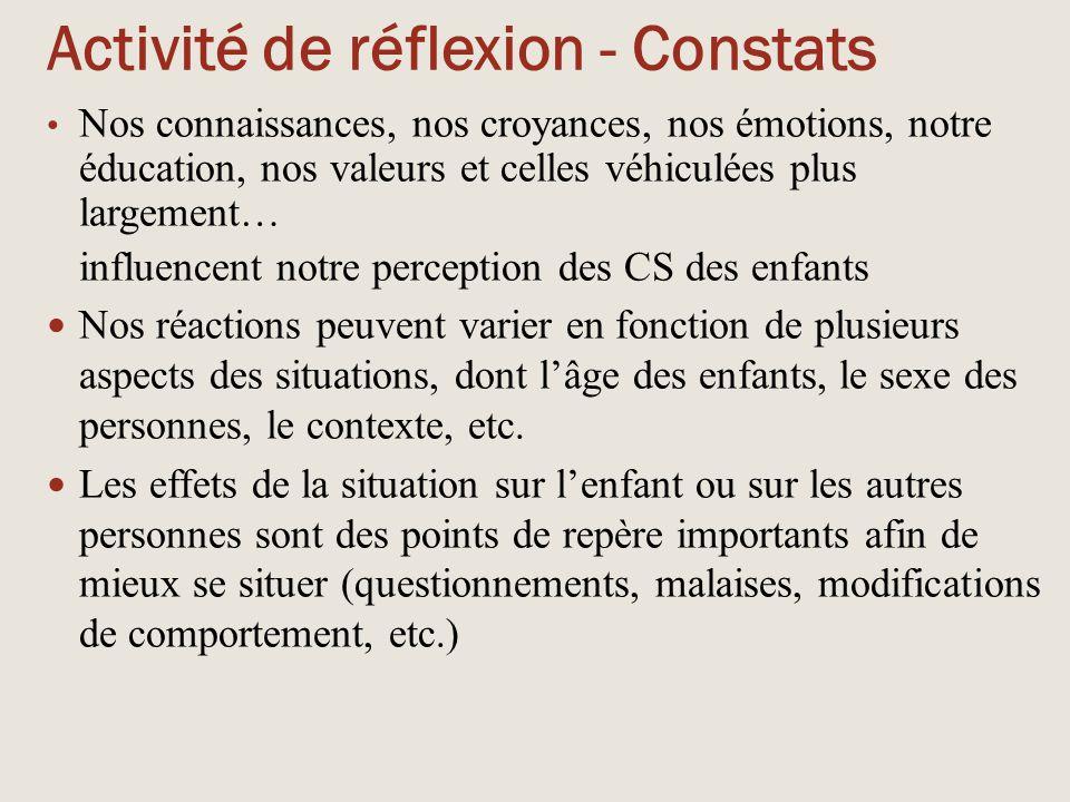 Activité de réflexion - Constats Nos connaissances, nos croyances, nos émotions, notre éducation, nos valeurs et celles véhiculées plus largement… inf