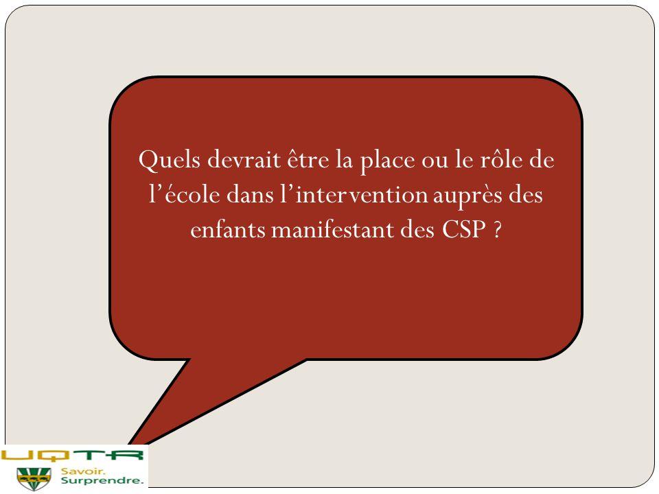 Quels devrait être la place ou le rôle de l'école dans l'intervention auprès des enfants manifestant des CSP ?