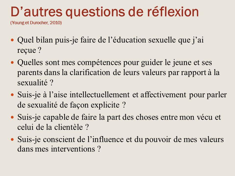 D'autres questions de réflexion (Young et Durocher, 2010) Quel bilan puis-je faire de l'éducation sexuelle que j'ai reçue ? Quelles sont mes compétenc