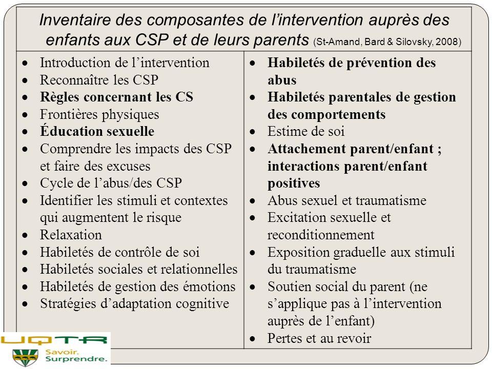 Inventaire des composantes de l'intervention auprès des enfants aux CSP et de leurs parents (St-Amand, Bard & Silovsky, 2008)  Introduction de l'inte