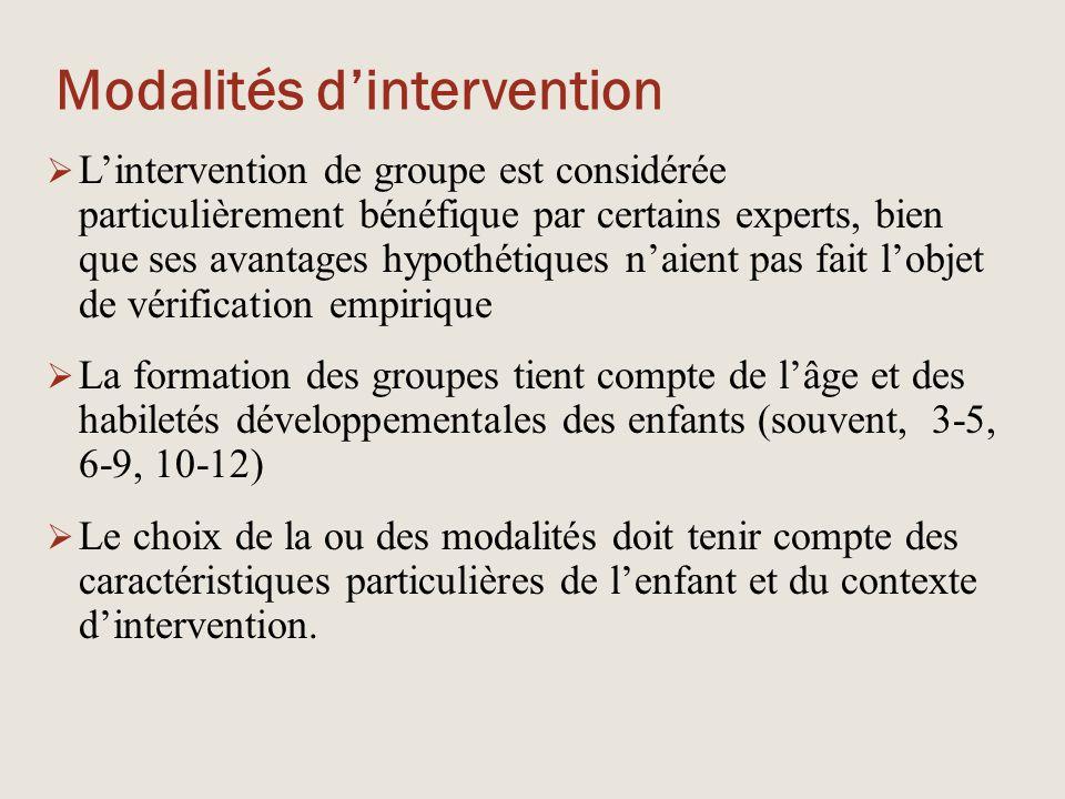 Modalités d'intervention  L'intervention de groupe est considérée particulièrement bénéfique par certains experts, bien que ses avantages hypothétiqu