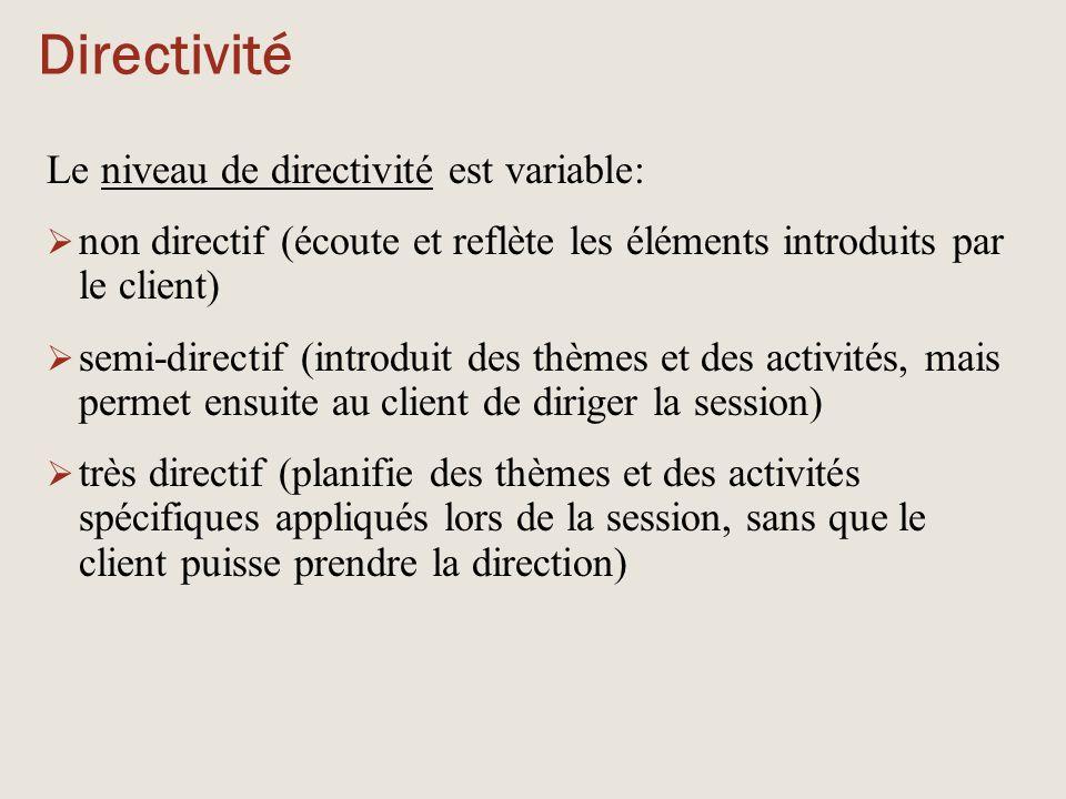 Directivité Le niveau de directivité est variable:  non directif (écoute et reflète les éléments introduits par le client)  semi-directif (introduit