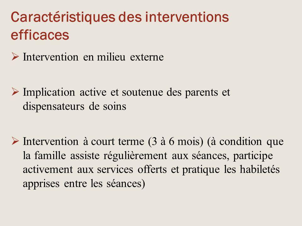 Caractéristiques des interventions efficaces  Intervention en milieu externe  Implication active et soutenue des parents et dispensateurs de soins 