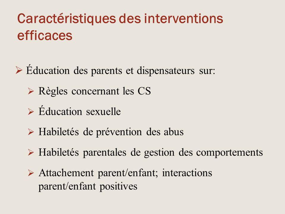 Caractéristiques des interventions efficaces  Éducation des parents et dispensateurs sur:  Règles concernant les CS  Éducation sexuelle  Habiletés