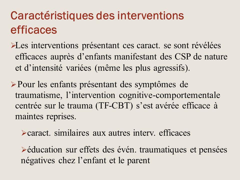 Caractéristiques des interventions efficaces  Les interventions présentant ces caract. se sont révélées efficaces auprès d'enfants manifestant des CS
