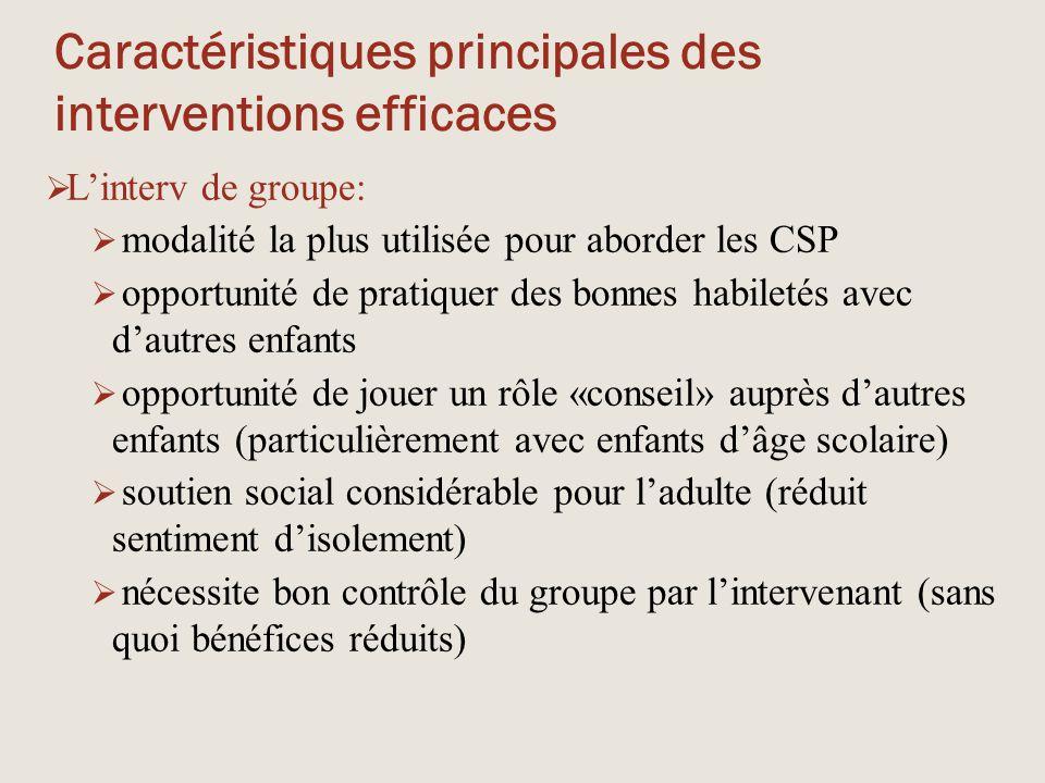 Caractéristiques principales des interventions efficaces  L'interv de groupe:  modalité la plus utilisée pour aborder les CSP  opportunité de prati