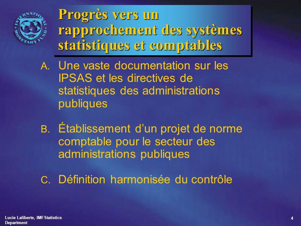 Lucie Laliberte, IMFStatistics Department 5 Progrès vers un rapprochement des systèmes statistiques et comptables (suite) D.