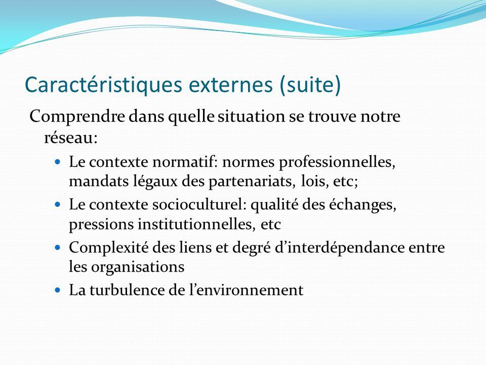Caractéristiques externes (suite) Comprendre dans quelle situation se trouve notre réseau: Le contexte normatif: normes professionnelles, mandats légaux des partenariats, lois, etc; Le contexte socioculturel: qualité des échanges, pressions institutionnelles, etc Complexité des liens et degré d'interdépendance entre les organisations La turbulence de l'environnement
