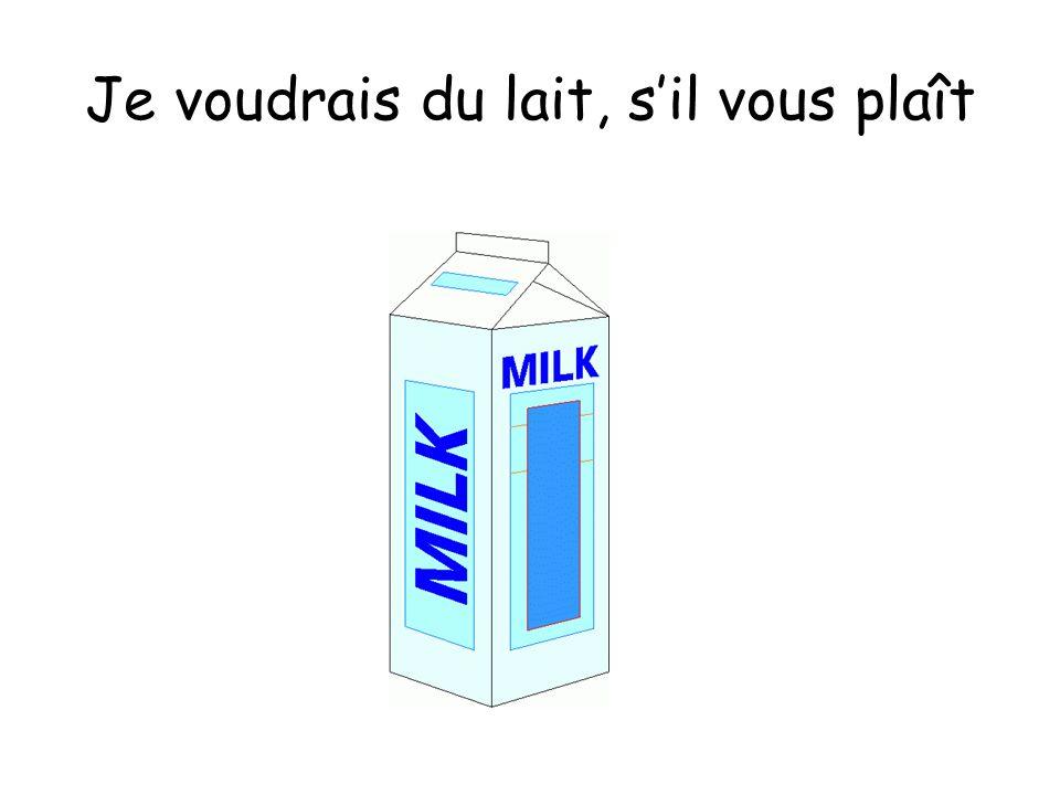 Je voudrais du lait, s'il vous plaît