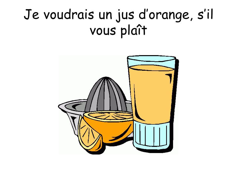 Je voudrais un jus d'orange, s'il vous plaît