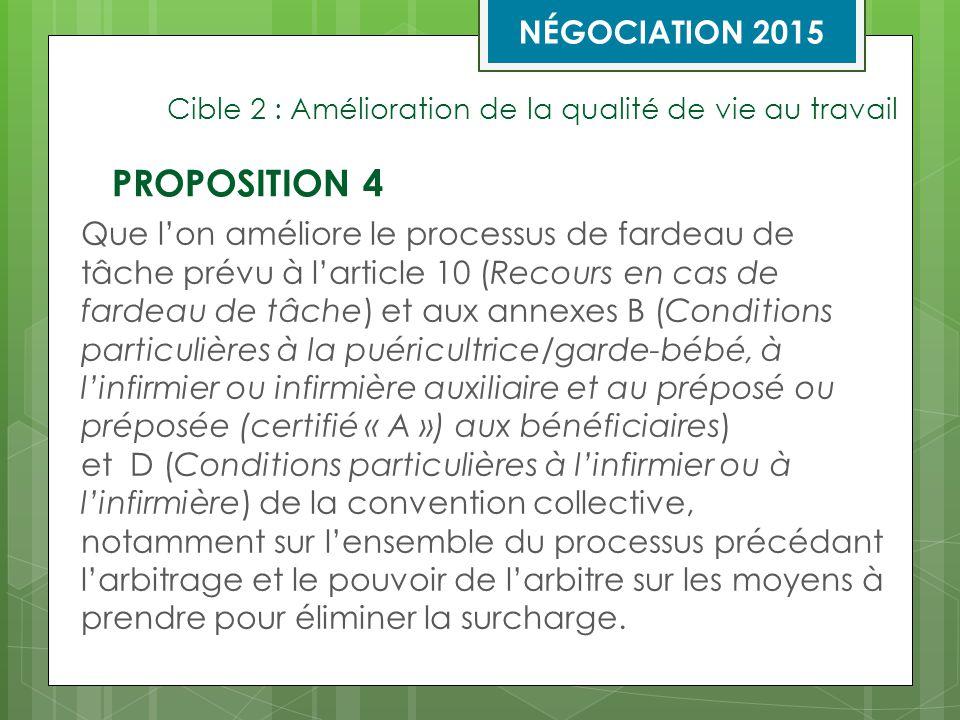 Cible 2 : Amélioration de la qualité de vie au travail Que l'on améliore le processus de fardeau de tâche prévu à l'article 10 (Recours en cas de fardeau de tâche) et aux annexes B (Conditions particulières à la puéricultrice/garde-bébé, à l'infirmier ou infirmière auxiliaire et au préposé ou préposée (certifié « A ») aux bénéficiaires) et D (Conditions particulières à l'infirmier ou à l'infirmière) de la convention collective, notamment sur l'ensemble du processus précédant l'arbitrage et le pouvoir de l'arbitre sur les moyens à prendre pour éliminer la surcharge.