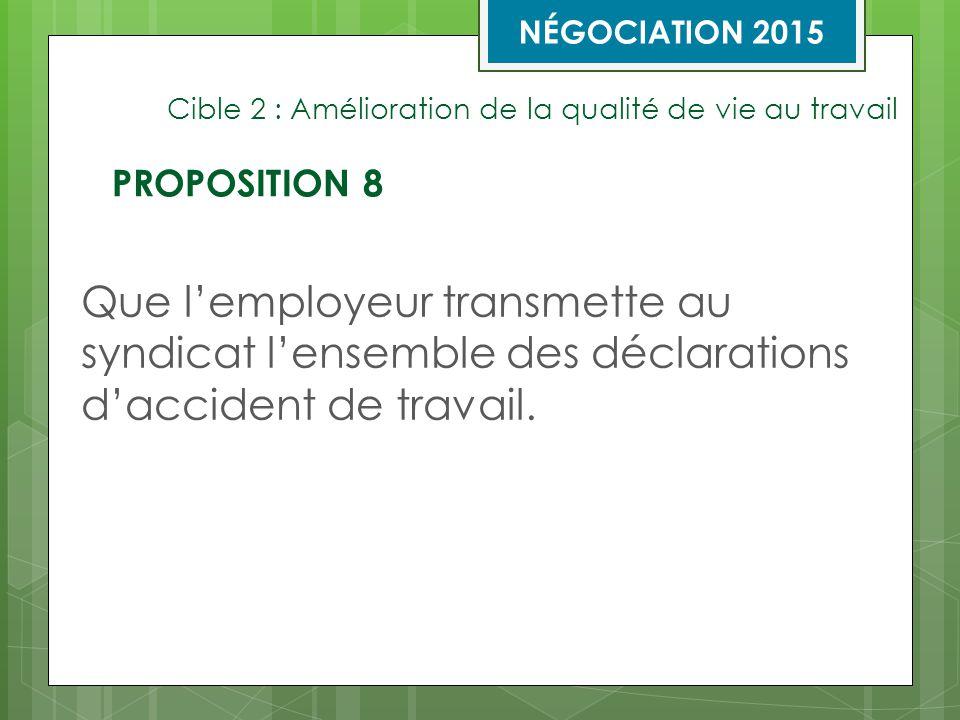 Cible 2 : Amélioration de la qualité de vie au travail Que l'employeur transmette au syndicat l'ensemble des déclarations d'accident de travail.
