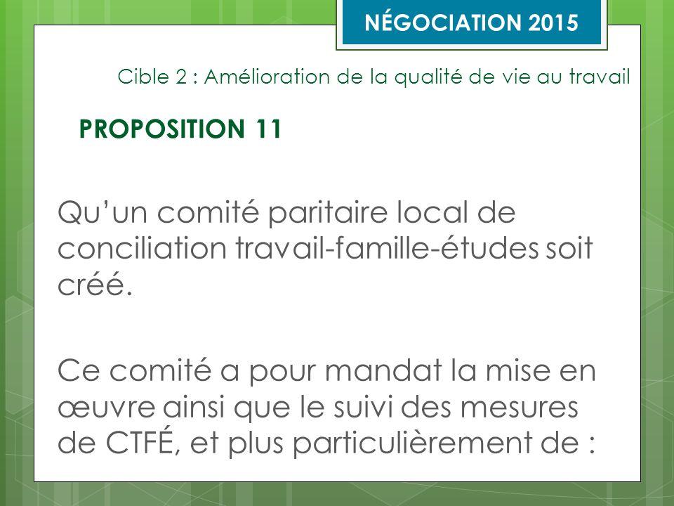 Cible 2 : Amélioration de la qualité de vie au travail Qu'un comité paritaire local de conciliation travail-famille-études soit créé.