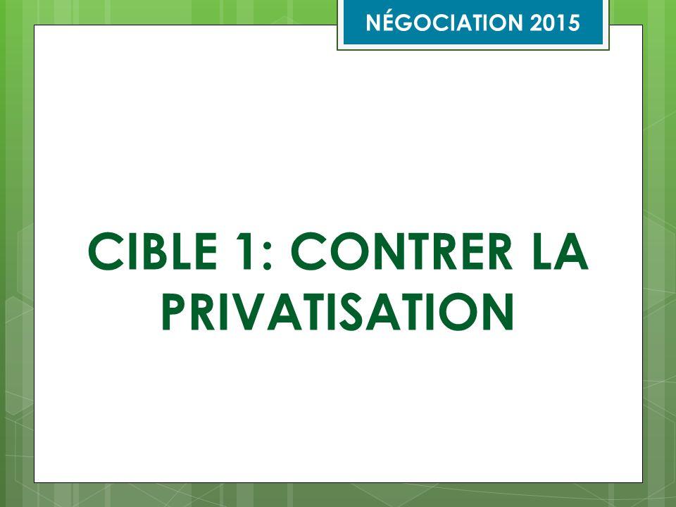 Cible 1 : Contrer la privatisation Que l'on améliore l'article 29 (Contrat d'entreprise [contrat à forfait]) afin de couvrir l'ensemble des situations de privatisation, notamment les recours à la sous- traitance, à la main-d'œuvre indépendante, aux partenariats public-privé et à la réduction des effectifs publics.