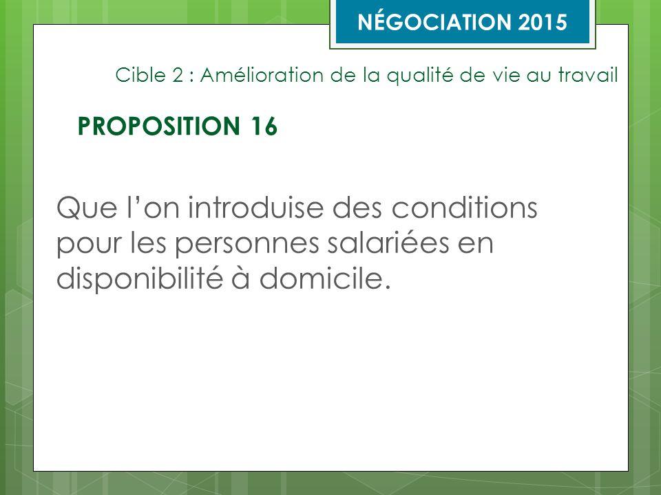Cible 2 : Amélioration de la qualité de vie au travail Que l'on introduise des conditions pour les personnes salariées en disponibilité à domicile.