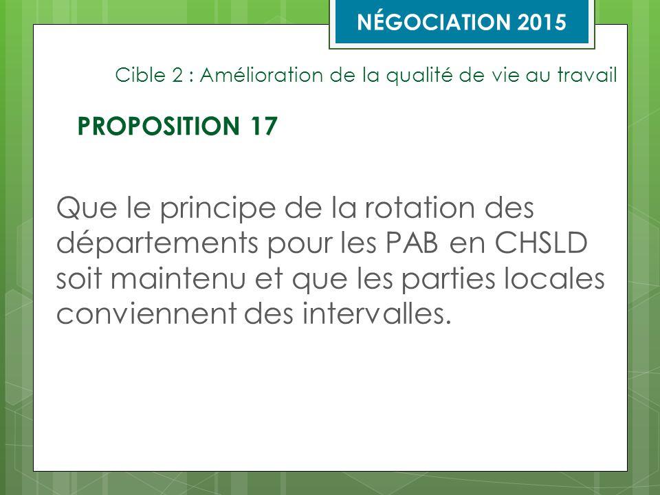 Cible 2 : Amélioration de la qualité de vie au travail Que le principe de la rotation des départements pour les PAB en CHSLD soit maintenu et que les parties locales conviennent des intervalles.
