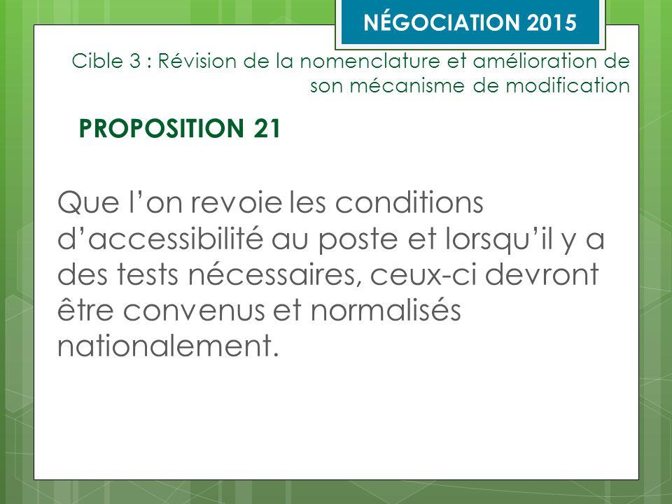 Cible 3 : Révision de la nomenclature et amélioration de son mécanisme de modification Que l'on revoie les conditions d'accessibilité au poste et lorsqu'il y a des tests nécessaires, ceux-ci devront être convenus et normalisés nationalement.