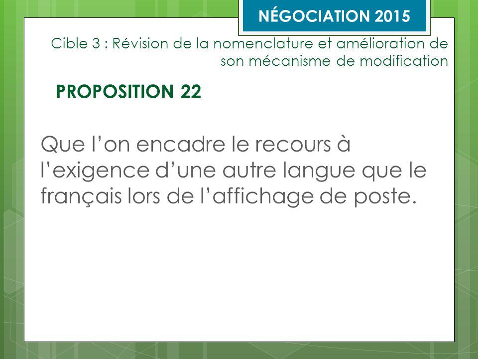 Cible 3 : Révision de la nomenclature et amélioration de son mécanisme de modification Que l'on encadre le recours à l'exigence d'une autre langue que le français lors de l'affichage de poste.