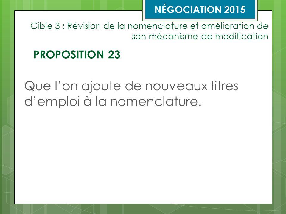 Cible 3 : Révision de la nomenclature et amélioration de son mécanisme de modification Que l'on ajoute de nouveaux titres d'emploi à la nomenclature.