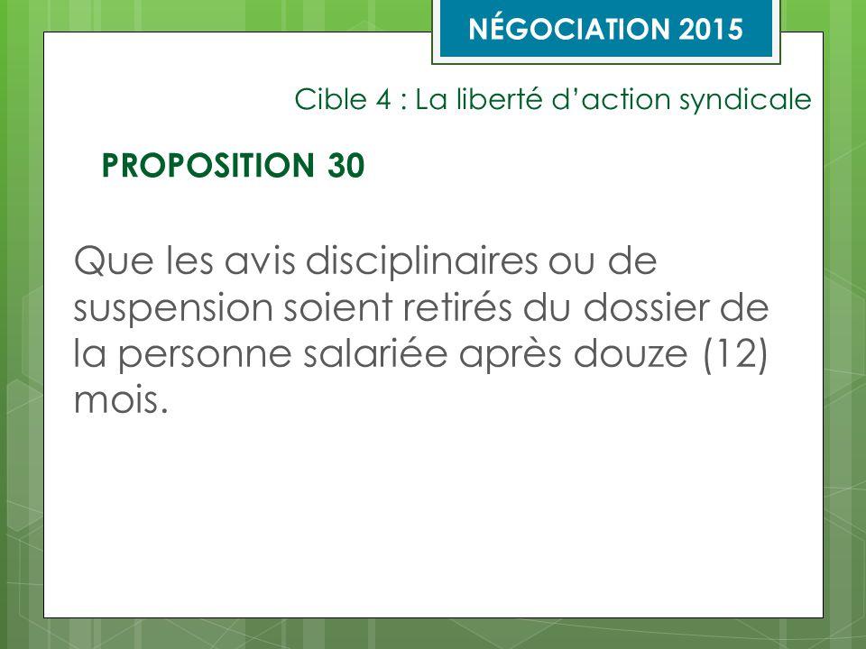 Cible 4 : La liberté d'action syndicale Que les avis disciplinaires ou de suspension soient retirés du dossier de la personne salariée après douze (12) mois.
