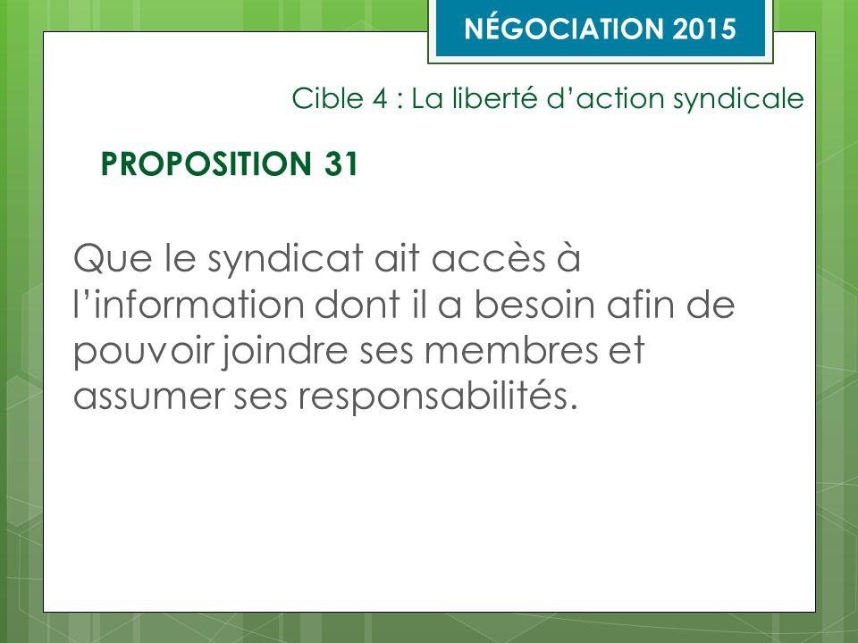 Cible 4 : La liberté d'action syndicale Que le syndicat ait accès à l'information dont il a besoin afin de pouvoir joindre ses membres et assumer ses responsabilités.