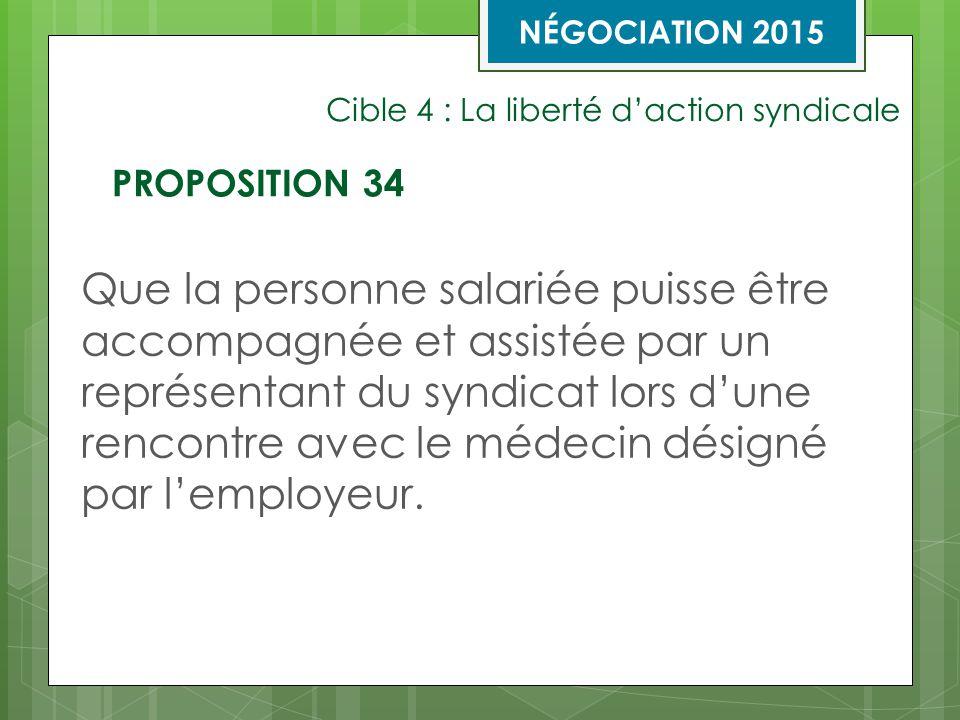 Cible 4 : La liberté d'action syndicale Que la personne salariée puisse être accompagnée et assistée par un représentant du syndicat lors d'une rencontre avec le médecin désigné par l'employeur.