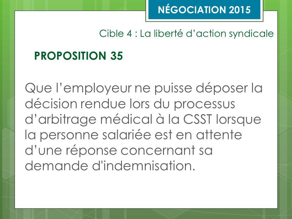Cible 4 : La liberté d'action syndicale Que l'employeur ne puisse déposer la décision rendue lors du processus d'arbitrage médical à la CSST lorsque la personne salariée est en attente d'une réponse concernant sa demande d indemnisation.