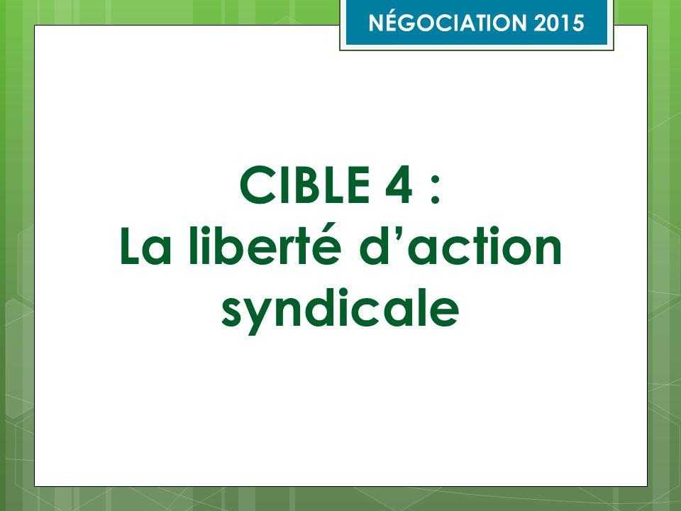 CIBLE 4 : La liberté d'action syndicale NÉGOCIATION 2015