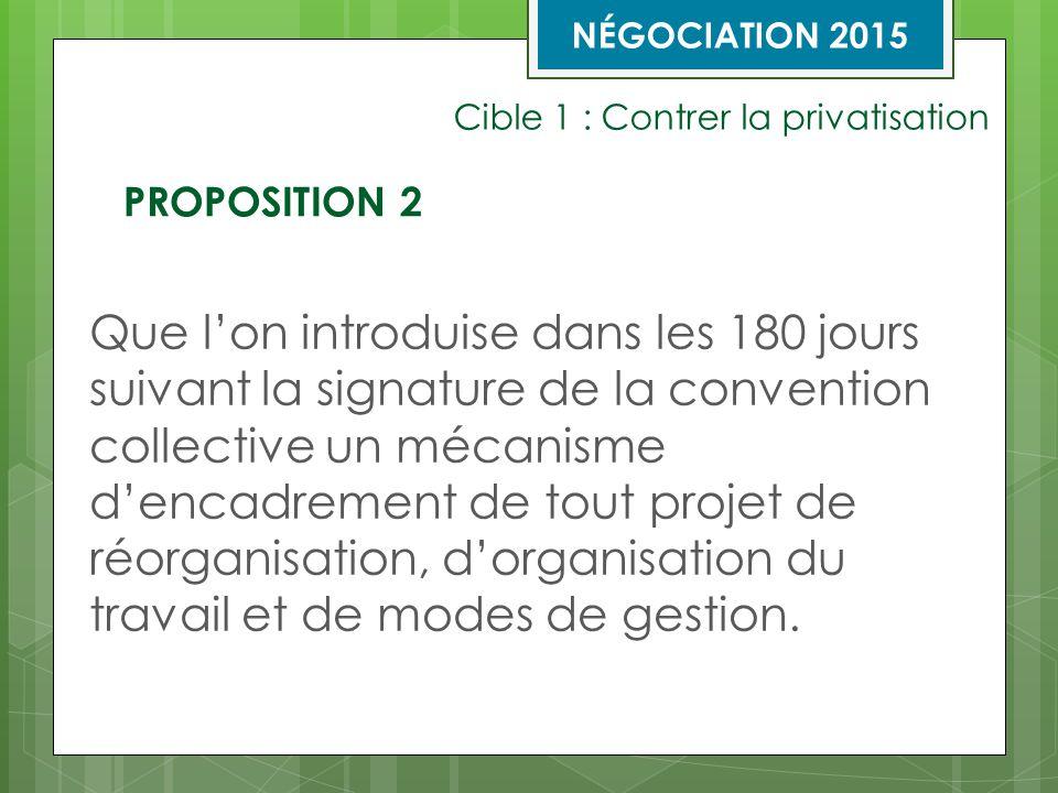 Cible 1 : Contrer la privatisation Des comités paritaires sont créés au niveau local, régional et national.