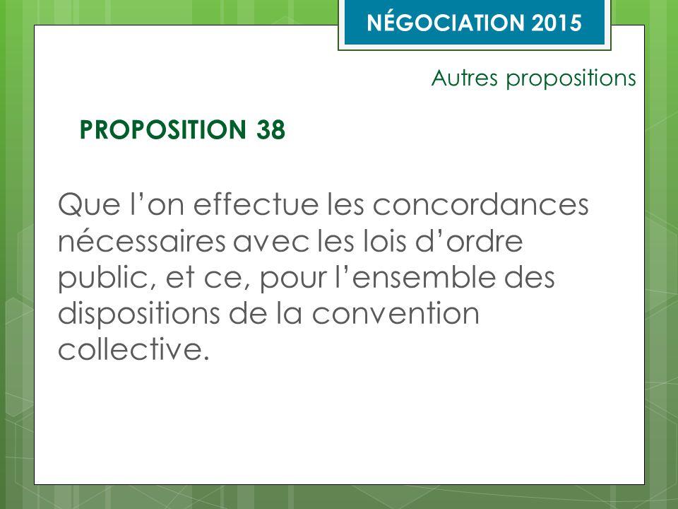 Autres propositions Que l'on effectue les concordances nécessaires avec les lois d'ordre public, et ce, pour l'ensemble des dispositions de la convention collective.