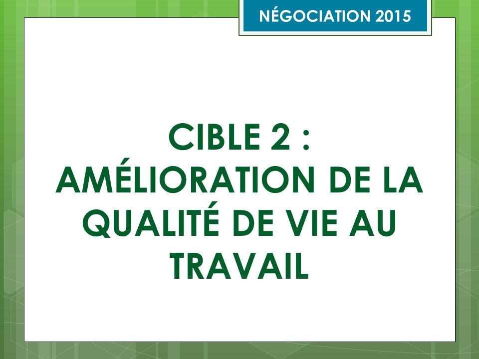 CIBLE 2 : AMÉLIORATION DE LA QUALITÉ DE VIE AU TRAVAIL NÉGOCIATION 2015