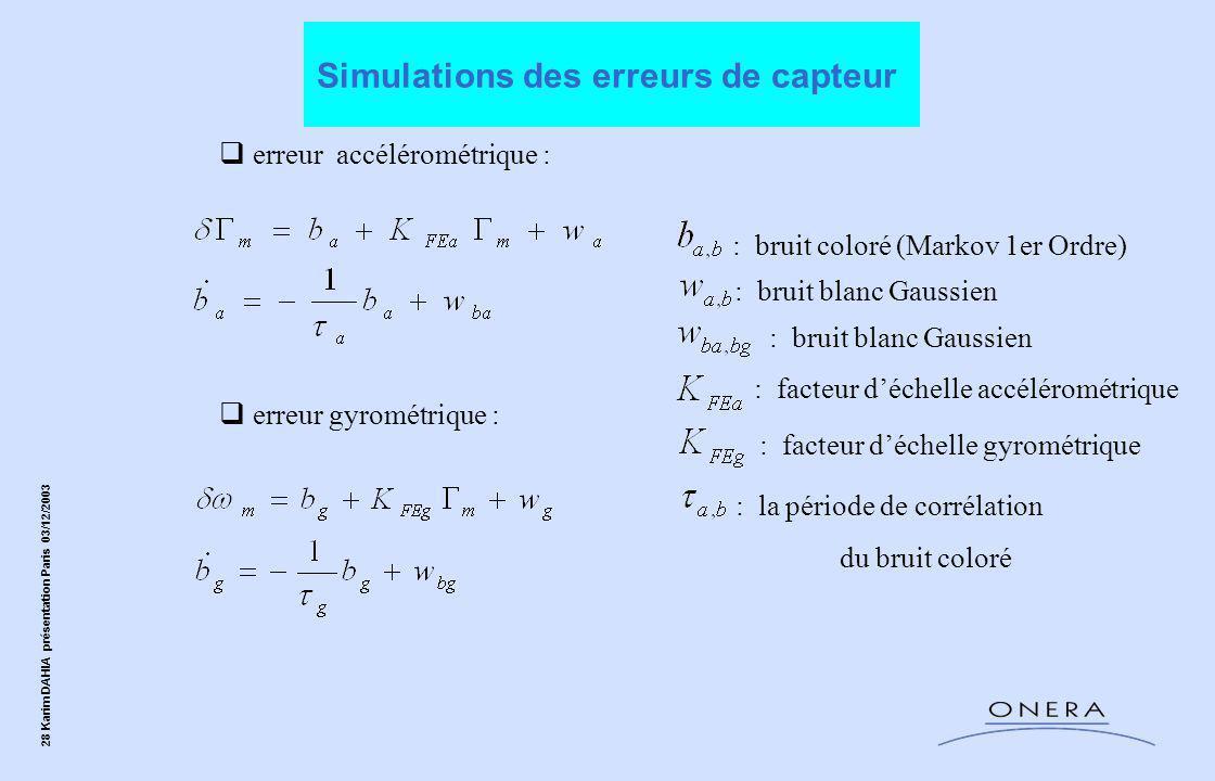 28 Karim DAHIA présentation Paris 03/12/2003  erreur gyrométrique :  erreur accélérométrique : : bruit blanc Gaussien : bruit coloré (Markov 1er Ordre) : facteur d'échelle accélérométrique : facteur d'échelle gyrométrique : la période de corrélation du bruit coloré : bruit blanc Gaussien Simulations des erreurs de capteur