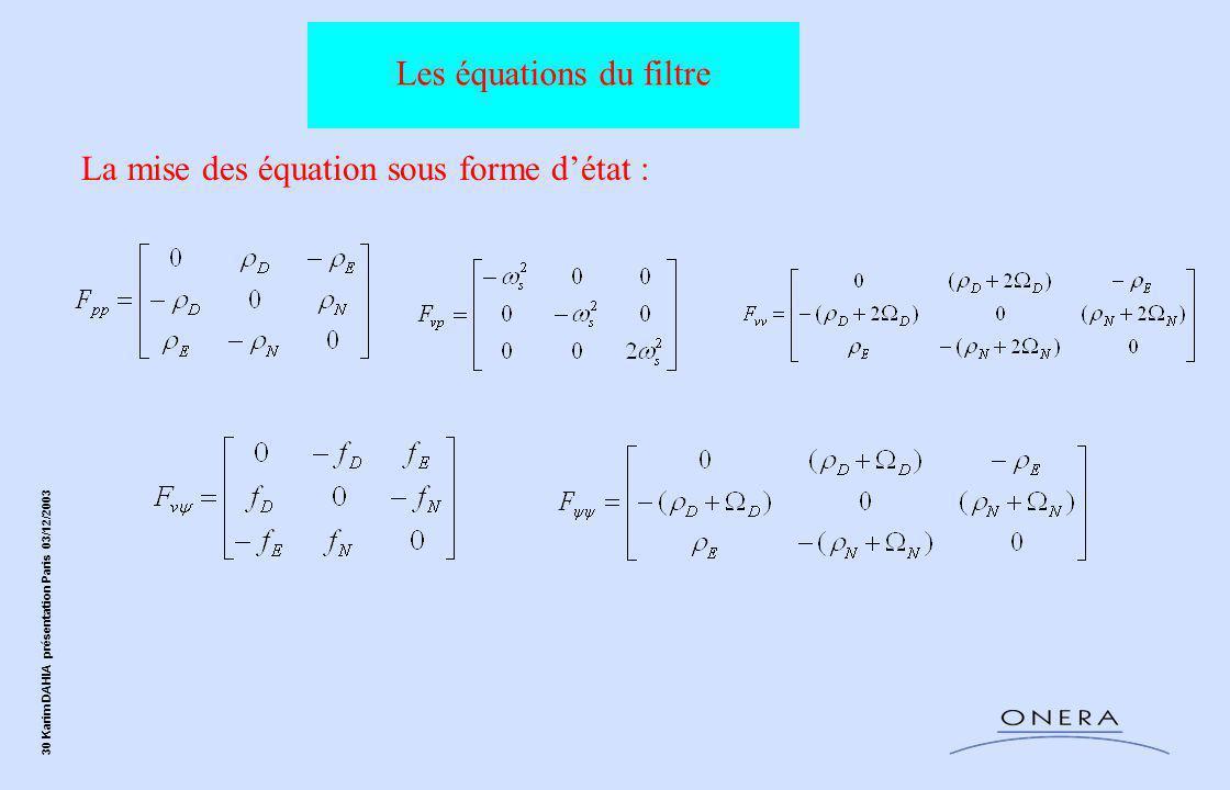 30 Karim DAHIA présentation Paris 03/12/2003 La mise des équation sous forme d'état : Les équations du filtre